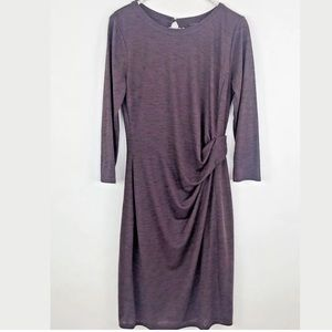 Ann Taylor Purple Mid Length Dress with Side Twist